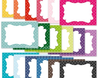 Colorful polka dot digital journaling cards, tags or labels printable clip art set - instant download