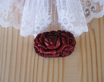 Vintage Celluloid Red Flower Brooch Pin   - Made in Japan -  Rare (C)