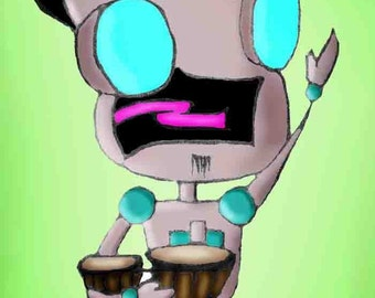 Invader ZIM - Beatnik avec Bongos Robot RIF Art aimant