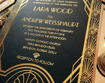 Great Gatsby Art Deco Invitation. Foil Stamped Invitation, Gold foil, Wedding Invitation, Gatsby Wedding, Art Deco Wedding