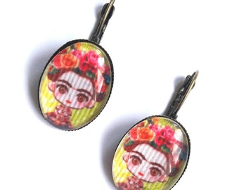 Earrings Frida Kahlo doll / Frida doll paper aunder cabochon 18 x 25 mm bronze leaf breloque / frida patterns and fuschia pink flowers