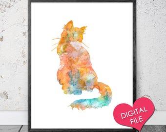 PRINTABLE Watercolor Cat Art, Cat Wall Art, Cat Wall Decor, Cat PRINTABLE, Cat Painting, Cat Watercolor Print, Watercolor Art, DIGITAL File