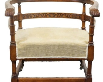 Antique Heavily Carved Asian Influenced Unusual Horseshoe Accent Chair