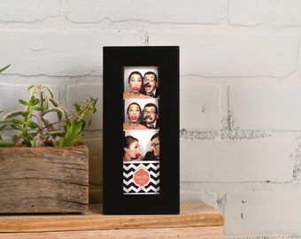 """Photo Booth Frame for 2 x 6"""" Picture Strip in 1x1 Flat Style with Solid Black Finish - In Stock - Same Day Shipping - 2x6 Size"""