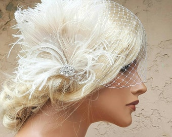 Wedding Fascinator, Feather Hair Clip, Ivory Fascinator, Bridal Hair Fascinator, French Net bridal veil , Great Gatsby, 2 piece set,
