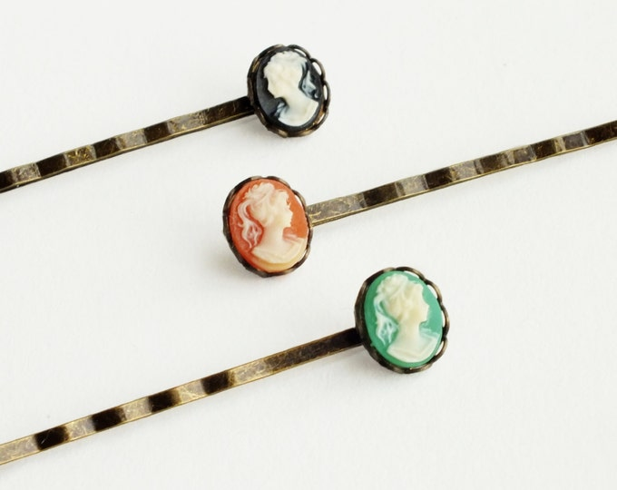 Cameo Hair Pins Vintage Small Resin Cameo Victorian Bobby Pins Set Antiqued Brass Victorian Accessories Black Green Carnelian Hairpins