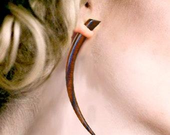 Fake Gauges, Tribal Earrings, Large Wooden Talons, Handmade, Expanders, Plugs, Organic, Cheaters, Tribal Jewelry, Split, Plugs - W19