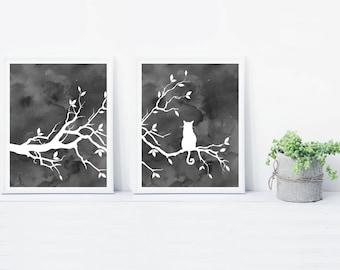 Cat Tree Wall Art Print Set of 2 Prints - Watercolor Gray