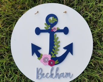 Personalized Nautical Wreath - Anchor Wall Hanging