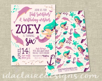 Birthday Party Digital Download | Mermaid Dolphin Tail Swish