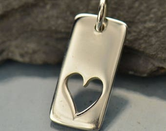 Sterling Silver Heart Cut-out Charm