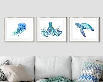 Nautical nursery decor, ocean art, bathroom art, sea life art, coastal decor beach art print kids wall art, set of 3 prints - S24