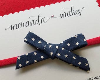 Patriotic Hair Bow Vintage Navy Blue & White Star Fabric on Red Headband or Hair Clip, Hand Tied School Girl Hairbow, Bias Tape Bow