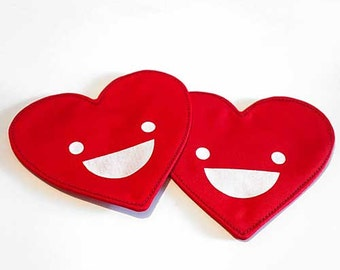 Valentines Heart Shaped Coasters, Red Heart Coasters, Coasters for drinks, Happy Face, Fabric Coasters, My Happy Valentine Coaster Set