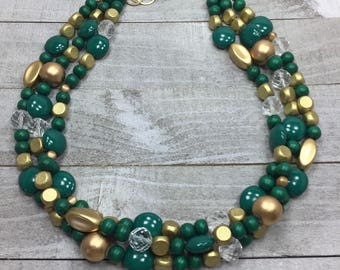Green And Gold Beaded Necklace - Statement Beaded Gold Necklace - Multi Layer Bib - Green With Envy Collection - Gift Jewelry