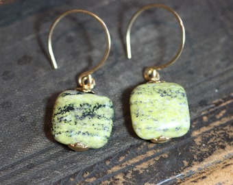 Green Serpentine Earrings Green Stone Gold Rustic Jewelry Square Bead Earrings
