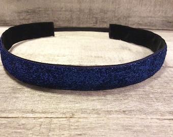 Navy Blue Sparkle Nonslip Headband, Noslip Headband, Sparkle Headband, Sports Headband, Running Headband, Athletic Headband