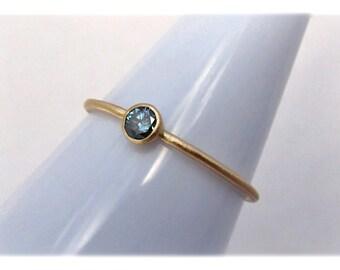 Blue Diamond 14k Gold Stack Ring