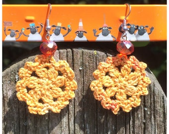 Boho style earrings, orange crochet earrings, bohemian earrings, bohochic, gypsy style
