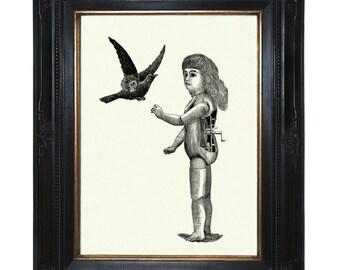Steampunk Doll Art Print Mechanical Girl with Bird Raven Crow Robot - Victorian Art Print Android Surrealism