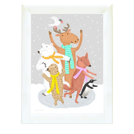 Ice skating moose, polar bear, fox and seal, nursery wall art, kids decor gray, nursery decor, penguin, iillustration for kids, art for kids