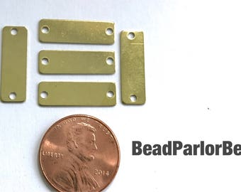 5 (five) raw brass 19x6mm rectangle stamping blanks/connectors with 2 holes