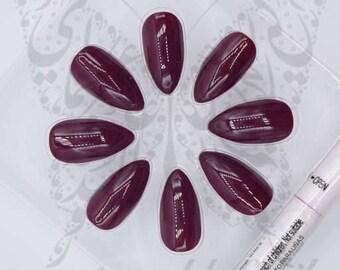 Stiletto Glossy Plum Color False Fake Nails / 24 Nails