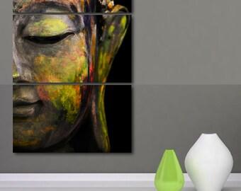 Three Panel Tranquil Buddha Print, Canvas Wall Art Print, Buddha Poster Painting Style, Buddha Wall Art, Buddhism Meditation Prints