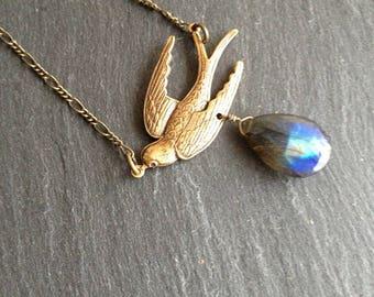 Necklace big beautiful labradorite and brass swallow