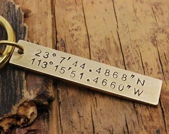 Custom Coordinates Keychain, personalized engraved keychain ,Custom keychain, Stamped keychain  ,coordinate keychain