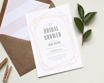Geometric Bridal Shower Invitation, Modern Wedding Shower Invitations, Geometric Wedding Shower Invitation, Modern Bridal Shower Invitation