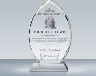 Achievement Recognition Crystal Award, Employee Appreication Plaque, Retirement Gift, Pastor Gift, Teacher Gift, A00502