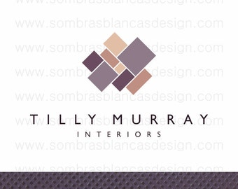 OOAK Premade Logo Design - Diagonal Squares - Perfect for an interior designer or a home staging business