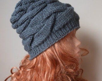 Cable Knit Hat Hand Knit Slouchy Beanie Hat Acrylic Gray