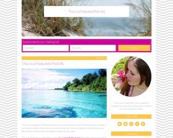 "Wordpress Theme, Responsive, Wordpress Blog Template, Genesis Child Theme, ""Sandy Beach"""""