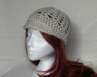 Crocheted Off White Beanie with brim