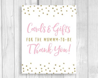 Printable Cards and Gifts for the Mommy-to-be 5x7, 8x10 Baby Shower Gift Table Sign - Light Pink and Gold Glitter Polka Dots - Download