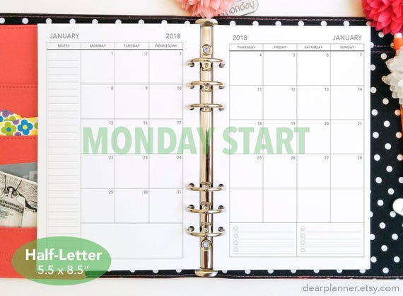 printed month on 2 page monday start mo2p calendar dated up to december 2019 monthly planner insert mon sun half letter a5 25h
