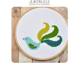 Fancy Bird Cross Stitch Pattern Instant Download