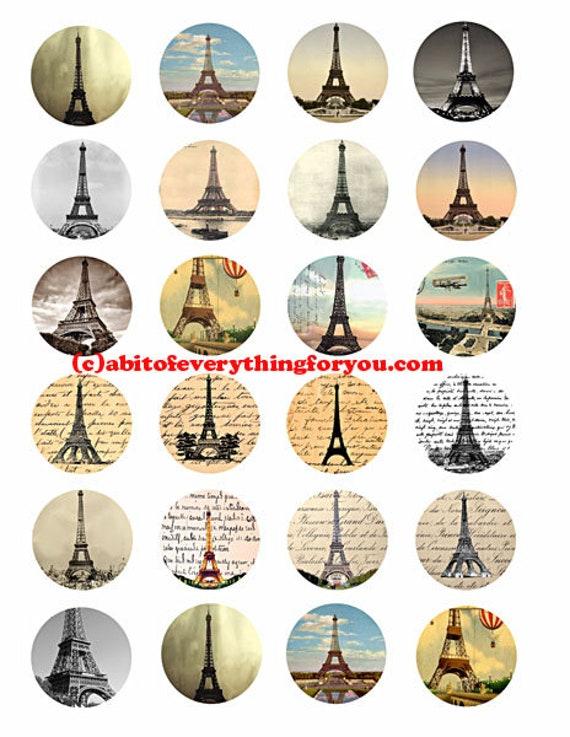 Eiffel Tower Paris france collage sheet printables 1.5 inch circles clip art digital download graphics images  travel art craft pendant pins