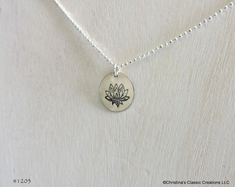 Sterling Silver Lotus Flower Hand Stamped Necklace (#1203)