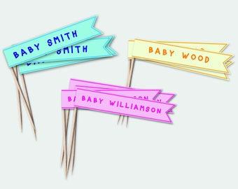 PERSONALISED DIY Baby shower cupcake topper flags - Boy, girl, neutral