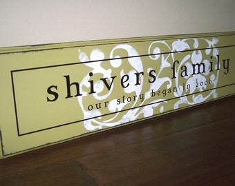 8x32 Personalized Established Family Name Sign  --  Our Story Began - MARY JANE Style