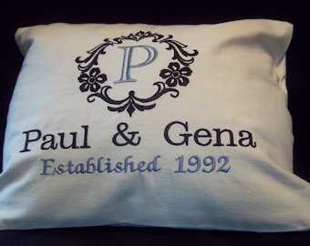 Custom Embroidered Family Established Pillow