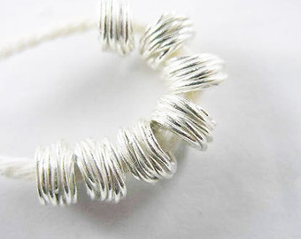 8 of Karen Hill Tribe Silver Wire Drum Beads 6x4 mm. :ka3268
