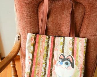 Japanese Inu-hariko tote - Japanese Motifs in Pink Stripes -