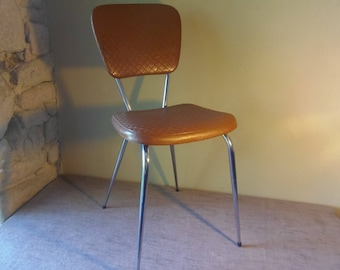 1950's French Chrome and Tan Kitchen Chair
