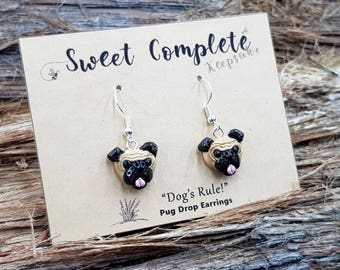 Pug stud or drop earrings, dog earrings with surgical steel or sterling silver wires.