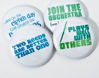 Bassoon and Orchestra Pinback Buttons or Magnets - set of four - BSN 2