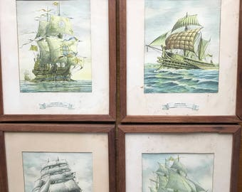 Prints and Frames Weathered, Stained from Sun & Beach.  Antique Sailing Ships